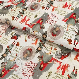 Cotton fabric Little red riding hood off white digital print