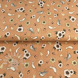 Cotton fabric LOST SONG Flower and dove toss coral