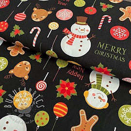 Cotton fabric Merry christmas digital print