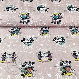 Cotton fabric Mickey and Minnie Forever digital print