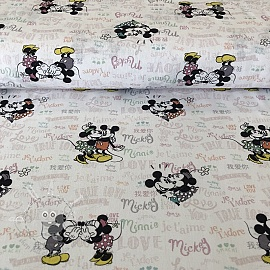 Cotton fabric Mickey and Minnie True love digital print