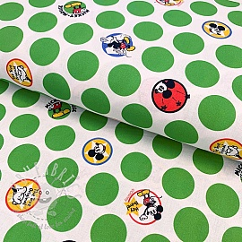 Cotton fabric Mickey medaillons green digital print
