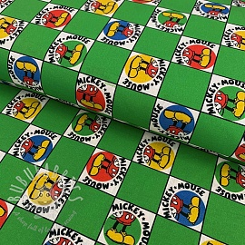 Cotton fabric Mickey mouse chessboard digital print