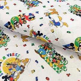 Cotton fabric Mickey Summer vibes digital print