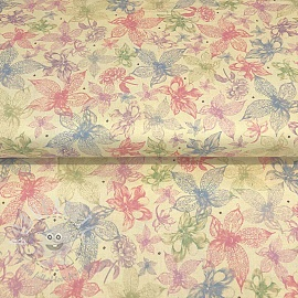 Cotton fabric MIDNIGHT GARDEN Sketched floral cream