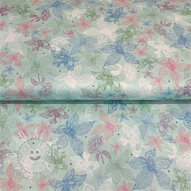 Cotton fabric MIDNIGHT GARDEN Sketched floral light blue