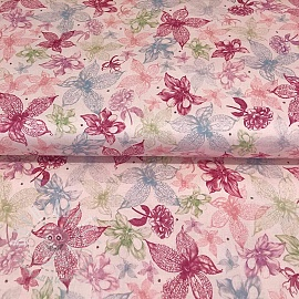 Cotton fabric MIDNIGHT GARDEN Sketched floral light pink