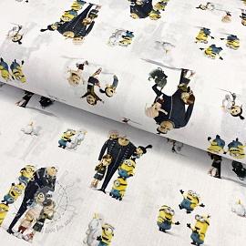 Cotton fabric MINIONS Family digital print