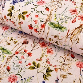 Cotton fabric Mirabell red digital print