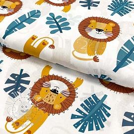 Cotton fabric Monstera lion jeans