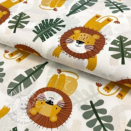 Cotton fabric Monstera lion old green