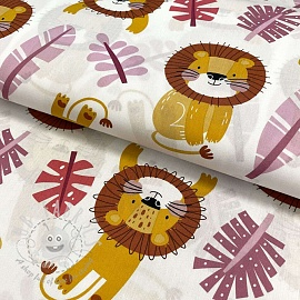 Cotton fabric Monstera lion old pink