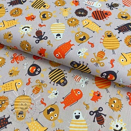 Cotton fabric Monsters light grey