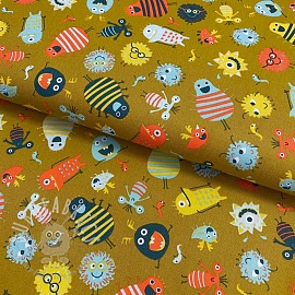 Cotton fabric Monsters mustard