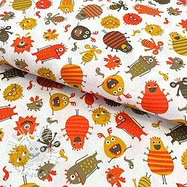 Cotton fabric Monsters white