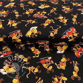 Cotton fabric MOOSE ON THE LOOSE Moose toss black