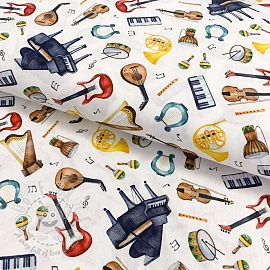 Cotton fabric Musical instruments digital print