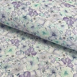 Cotton fabric Naima blue digital print