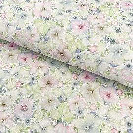 Cotton fabric Naima green digital print
