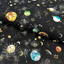 Cotton fabric New galaxy black digital print