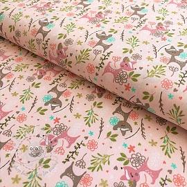 Cotton fabric Oh deer glitter light pink
