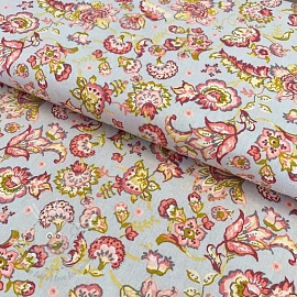Cotton fabric Paisley flower light grey