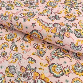 Cotton fabric Paisley flower light rose