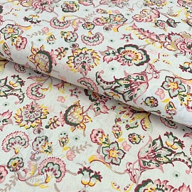 Cotton fabric Paisley flower off white