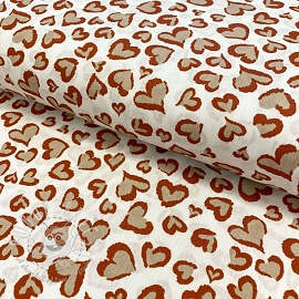 Cotton fabric Panther hearts off white