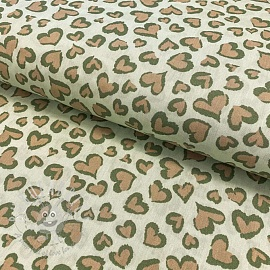 Cotton fabric Panther hearts old green