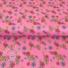 Cotton fabric PARTY LIKE A UNICORN Flowers pink