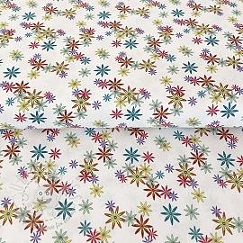 Cotton fabric PARTY LIKE A UNICORN Flowers white