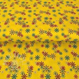Cotton fabric PARTY LIKE A UNICORN Flowers yellow