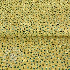 Cotton fabric PARTY LIKE A UNICORN Tiny hearts yellow