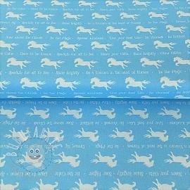 Cotton fabric PARTY LIKE A UNICORN Unicorn silhouettes blue