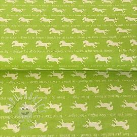 Cotton fabric PARTY LIKE A UNICORN Unicorn silhouettes green