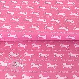 Cotton fabric PARTY LIKE A UNICORN Unicorn silhouettes pink