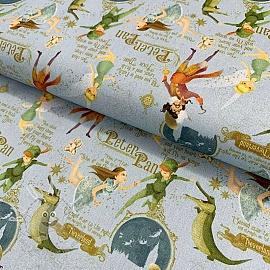 Cotton fabric Peter Pan blue digital print