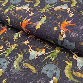 Cotton fabric Peter Pan navy digital print