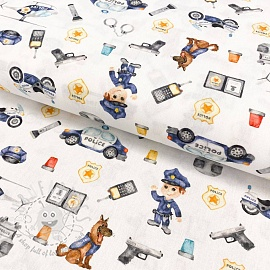 Cotton fabric Police digital print