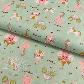 Cotton fabric Pretty princess light mint