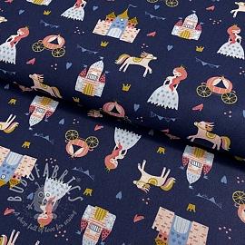 Cotton fabric Pretty princess navy