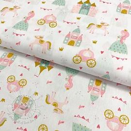 Cotton fabric Pretty princess white