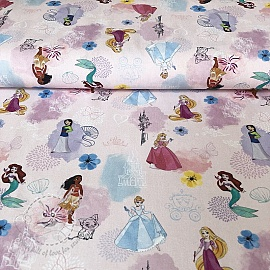 Cotton fabric Princess Characters digital print