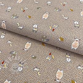 Cotton fabric Puppy animals sand