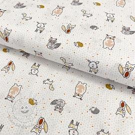 Cotton fabric Puppy animals white