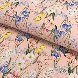 Cotton fabric Ramoscelli rosa digital print