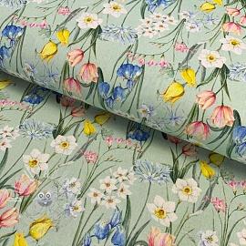 Cotton fabric Ramoscelli verde digital print
