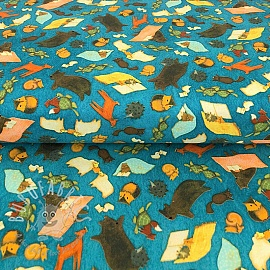 Cotton fabric READING TOGETHER Animal toss dark blue