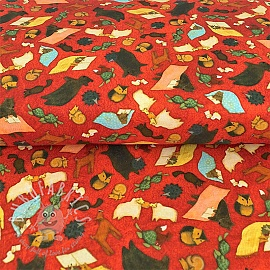 Cotton fabric READING TOGETHER Animal toss red